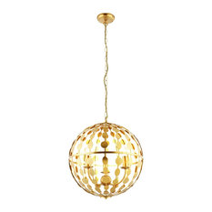 Alvah 3 Light Ceiling Pendant, in Gold Leaf