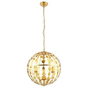 Alvah 3 Light Ceiling Pendant, in Gold Leaf