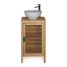 Alinéa - Nature Meuble bas de salle de bains en bambou - 50cm - Placard de salle de bain