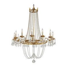 Viola, 12 Light Chandelier, Distressed Gold Leaf Finish, Venetian Glass