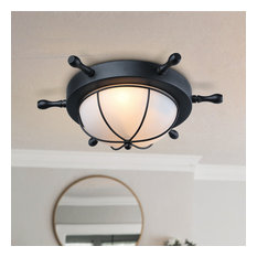 Retro-Style Industrial Ceiling Mount Lamp Glass