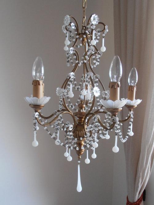 Italian antique gilt Murano white opaline drops chandelier - Chandeliers - Italian Antique Gilt Murano White Opaline Drops Chandelier