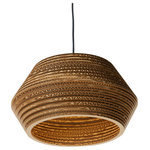 LAMPARASDECARTON.COM - Tambo Pendant Light - Made from stacked circular strips of lacquered cardboard, the Tambo Pendant Light is a wonderful example of innovative design. Allowing a soft light to diffuse through the corrugated card, it sets a relaxed mood suitable for a lounge or bedroom. Specialising in sustainable eco-designs, Spanish light fitting design company Lámparas de Cartón uses biodegradable materials and water-based varnish to create their hand-assembled lampshades.