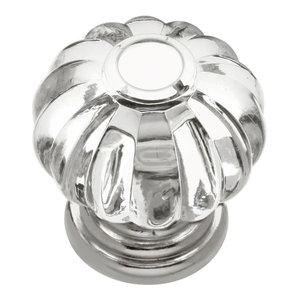 "Crystal Palace Knob, 1-1/8"" Diameter, Crysacrylic With Polished Nickel"