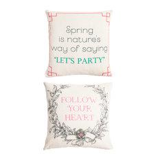 Welcome Spring/Follow Your Heart, Indoor/Outdoor Linen Message Pillow