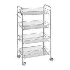 Modern Rolling Cart, Strong Steel Frame and Metal Wire Mesh Open Shelves