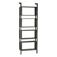 Bookcase  Aged Sealed Gray Wash Wood Steel Tube Frame Modern