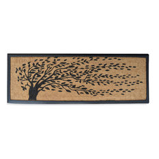 Rubber and Coir Molded 'Falling Leaves' Double Doormat