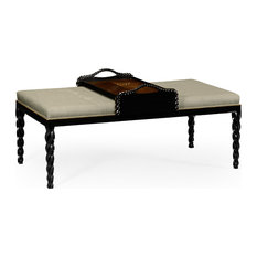 Cocktail Ottoman With Tray Table And Black Barleytwist Legs Upholstered In MAZO