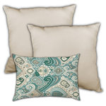 Joita Home - Arabian Nights Indoor/Outdoor, Zippered Pillow Cover with Insert, Set of 3 - Calming and classy, with a boho flair for the exotic. Two jumbo pillows feature teal, cream, blue and chocolate.  This color combination invites you to relax and dream awhile. A cream colored lumbar pillow completes the journey to dreamy bliss. Distinctive design and quality workmanship. The perfect ending to your workday. This outdoor collection features UV and mildew protection.