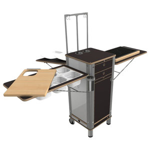 Live Moving Kitchen, 2-Ring Stove With 2 Wheels and 2 Feet, Dark Brown
