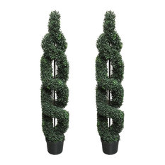 5 Feet Artificial Boxwood Leave Double Spiral Topiary In Plastic Pot, Green, Set