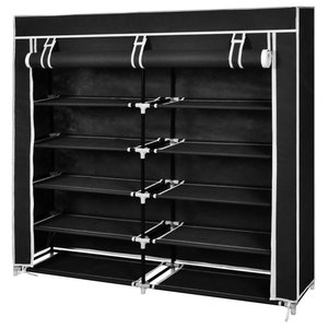 VidaXL Fabric Shoe Cabinet With Cover, Black, 115x28x110 cm