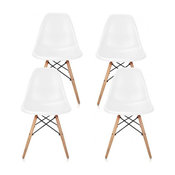 White DSW Midcentury Dining Shell Chairs, Beech Wood Eiffel Legs, Set of 4