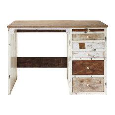 - Bureau en bois recyclé L 112 cm - ARCACHON - Meuble Bureau et Secrétaire