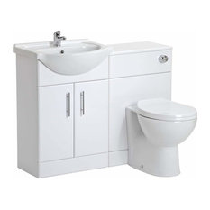 Modern Vanity Unit With WC Toilet, White Ceramic, 2-Door and Inner Shelf