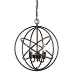 CLAXY - Oil Rubbed Bronze 4 Lights Ball Cage Chandelier, 3-Light - 3 lights pendant lights, oil rubbed bronze.