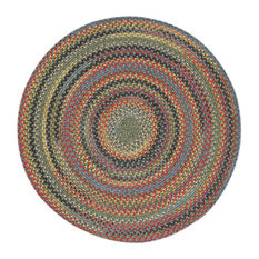 """Capel Rugs - High Rock Braided Round Rug, Green, 5'6"""" - Area Rugs"""