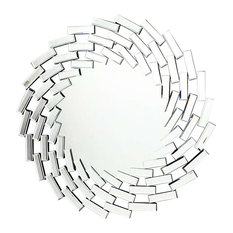 Contemporary Stylish Wall Mounted Mirror, Round Shaped Spiral Design