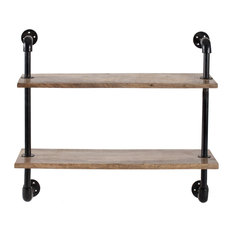 Terville Two Tier Industrial Pipe Wall Shelf