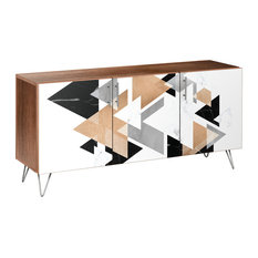 Marble & Gold Hairpin Sideboard, Walnut/Chrome