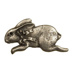 Bunny With Bow Facing Left Pull, Bronze Rubbed