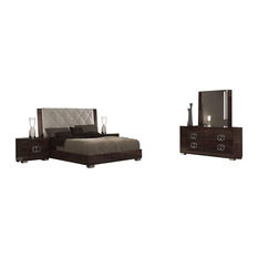 Georgia Deluxe 5-Piece Modern Bedroom Set, Glossy Walnut, King