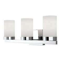 Canarm Milo 3-Light Vanity With Flat Opal Glass in Chrome, Easy Connect