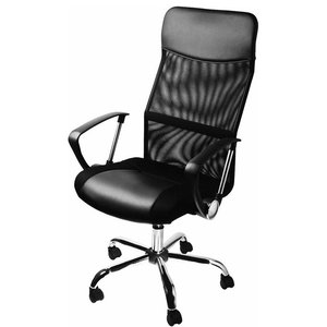 Modern Executive Chair Upholstered, Black Faux Leather and Fabric, Black