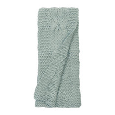 Micah Cable Knit Throw Aqua