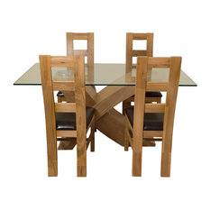 Valencia Glass and Oak Dining Table With 4 Yale Chairs, 160 cm
