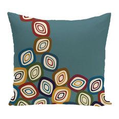"Falling Leaves Geometric Print Pillow, Teal, 26""x26"""