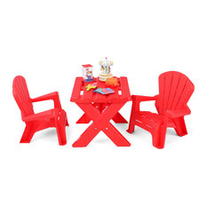 Giantex Plastic Kids Table & Chair Set 3-Piece Play Furniture In/Outdoor Red