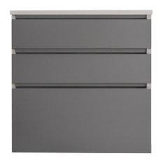 24-inch 3-Drawer Vanity Matte Gray Glass Quartz White Top