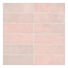 """Cloe 2.5""""x8"""" Artisan Ceramic Subway Tile, Pink"""