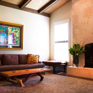 タンパの中サイズのトロピカルスタイルのおしゃれなLDK (白い壁、コンクリートの床、標準型暖炉、石材の暖炉まわり、据え置き型テレビ) の写真
