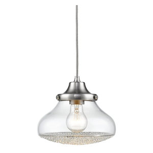 Asha 1-Light Small Pendant Pewter Clear Crushed Crystal Glass