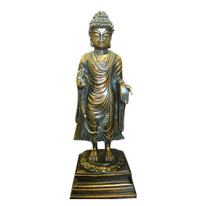 Mogul Interior - Standing Buddha Sculpture Handmade Brass Statue Religious Indan Art - Decorative Objects And Figurines