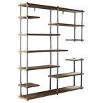 Furniture Pipeline - Nashville Mid-Century Etagere Bookcase, Light Brown - Unique chic space saving and beautifully designed  is what comes to mind when you first lay eyes on our Nashville bookcase/etagere! It is a perfect lightweight  asymmetrical design storage addition to your office or living space. Each metallic component is expertly crafted from the finest materials including aircraft-grade recyclable aged finished aluminum and sustainable reclaimed/aged finished solid Paulownia (looks like Ash  lifts like cardboard!) wood. This bookcase/etagere is lightweight and durable  easy to move around as needed  arriving at your doorstep with 100% recyclable packaging for a lifetime of enjoyment!