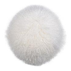 """Lamb Fur Pillow 14"""", Feather Fill"""