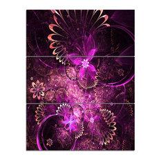 """Glossy Bright Purple Fractal Flower"" Wall Art, 3 Panels, 28""x36"""