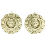UNKNOWN - Rococo Lion Wall Accents - a Pair - If you require a dose of royalty, this pair of regal lion hangings will definitely quench your thirst. Display these as an accent to any decor style from Hollywood Regency to French Provincial or mid-century. European design.