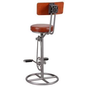 Upcycled Leather and Iron Bicycle Bar Stool