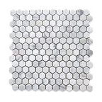 "12""x12"" Carrara White Hexagon Mosaic Tile Polished, Chip Size: 1"""
