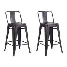 Metal Bar Stools With Back Set Of 2 Distressed Black 24-inch