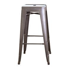 Loft 30-inch Metal Bar Stool Set Of 2 Gunmetal