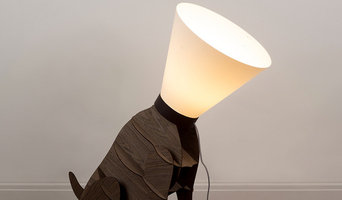 Large Modern Sitting Dog with Cone Shade Floor Lamp