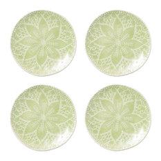 Lace Pistachio Cocktail Plates, Set of 4