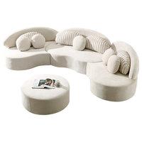 Modern 7-Seat Modular Sofa Velvet Upholstered Modular Sofa with Ottoman & Pillow