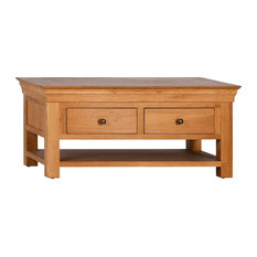 French Oak Coffee Table With Drawers and Shelf
